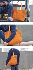 Vintage Canvas Leather Mens Womens Tote Shopping Bags Messenger Bag Tan Tote Handbag For Men Women