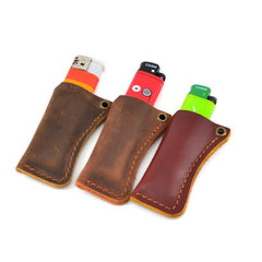 Handmade BIC Brown Leather Lighter Case Leather Cricket Lighter Holder Leather BIC Lighter Covers For Men