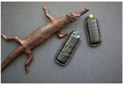 Handmade BIC J3 J5 Black Crocodile Skin Lighter Case BIC J3 J5 Crocodile Skin Lighter Holder Crocodile Skin Lighter Covers For Men