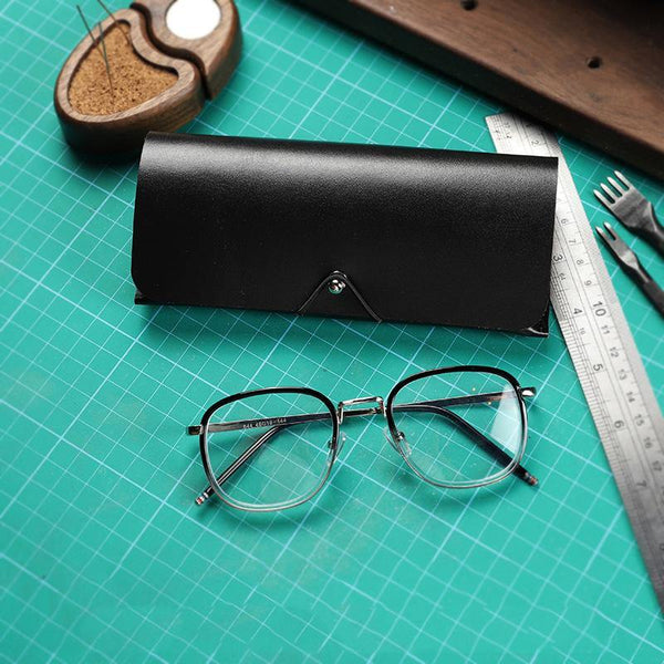 Handmade Black LEATHER MEN'S Womens Sunglasses Box Case Glasses Holder For Men