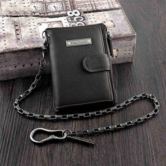 Black Leather Men's Small Biker Wallet Chain Wallet billfold Bifold Wallet with Chain Coin Purse For Men