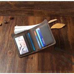 Handmade Tan Leather Mens Billfold Wallet Personalize Tan Bifold Small Wallets for Men