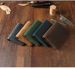 Handmade Coffee Leather Mens Billfold Wallet Personalize Coffee Bifold Small Wallets for Men