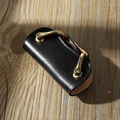 Handmade Black Leather Mens Keys Holder Keys Wallet Car Key Holders Black Key Pouch for Men