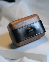 Handmade Black Leather Wood AirPods 1,2 Case with Eye Custom Leather AirPods 1,2 Case Airpod Case Cover