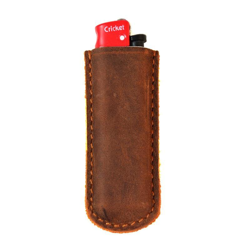 Handmade Cricket Brown Leather Lighter Case Leather Cricket Lighter Holder Leather Cricket Lighter Covers For Men