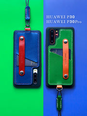 Handmade Leather Huawei P30 Pro Case with Card Holder CONTRAST COLOR Huawei P30 Pro Leather Case