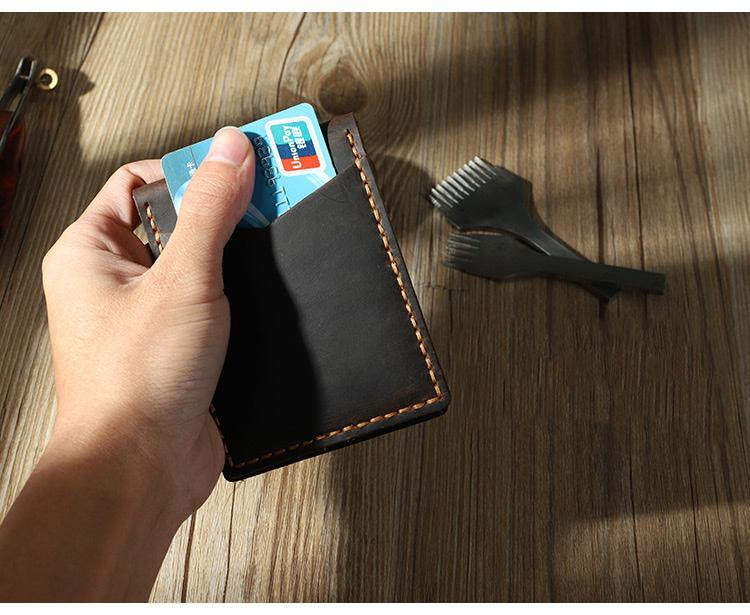 Handmade Black Leather Mens License Wallet Personalize Bifold License Card Wallets for Men