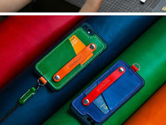 Handmade Blue Leather iPhone SE2 SE Case with Card Holder CONTRAST COLOR iPhone SE Leather Case