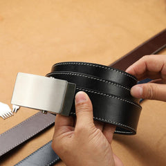 Handmade Mens Black Leather Belts PERSONALIZED Handmade Black Leather Belt for Men