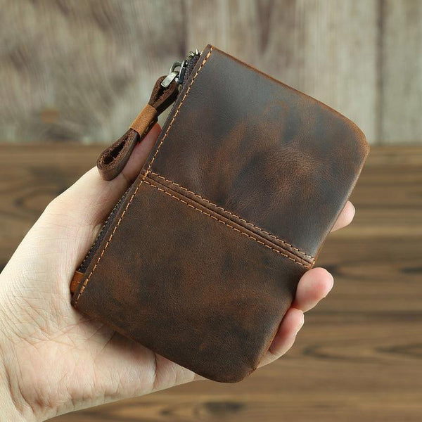 Vintage Small Slim Wallet Leather Men's Wallet Black Front Pocket Wallet Coin Holder Card Holder For Men