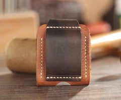 Handmade Brown Leather Mens Armor Zippo Lighter Cases With Belt Loop Zippo Standard Lighter Holders For Men