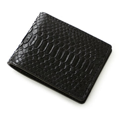 Handmade Cool Mens Black Snake Skin Small Wallet Yellow Slim Short Wallets For Men