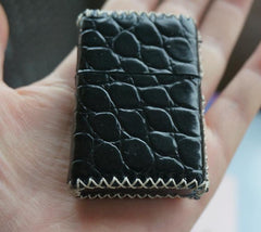 Cool Handmade Black Leather Mens Classic Zippo Lighter Case Standard Zippo Lighter Holder for Men