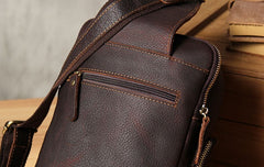 Handmade Genuine Leather Coffee Mens Cool Sling Pack Bag Crossbody Bag Chest Bag for men