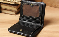 Handmade Genuine Leather Mens Cool Short Leather Wallet Men Small Wallets Bifold for Men