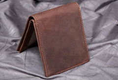 Vintage Cool Leather Mens Small Wallets Cool Short Slim Bifold Wallets for Men