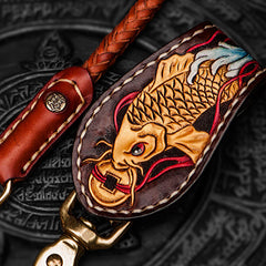Handmade Leather Braided Biker Trucker Tooled Carp Wallet Chain for Chain Wallet Biker Wallet Trucker Wallet