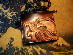 Handmade Leather Carp Fish Tooled Mens Short Wallet Cool Leather Wallet Slim Wallet for Men