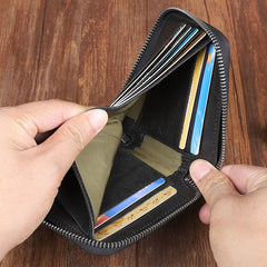 Cool Leather Mens Black Zipper Small Short Wallet Leather Wallet Bifold Short Wallets for Men