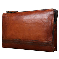 Handmade Brown Leather Mens Long Wallet Wristlet Wallet Brown Zipper Clutch Wallet for Men