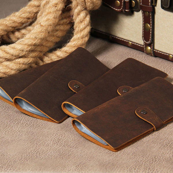 Handmade Leather Mens Card Wallet Vintage Coffee Multi Cards Wallet for Men