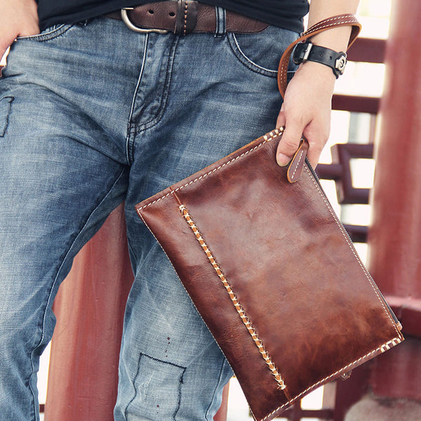 Handmade Leather Mens Coffee Brown Clutch Vintage Wristlet Bag Clutch Wallet for Men