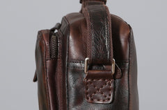 Handmade Leather Mens Cool Shoulder Bag Messenger Bag Chest Bag Bike Bag Cycling Bag for men