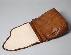 Handmade Leather Mens Handbag Cool Messenger Bag Shoulder Bag for Men