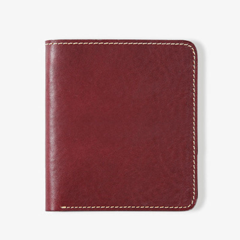 Handmade Leather Mens Slim Cool billfold Leather Wallet Men Small Wallets Bifold for Men