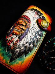 Handmade Leather Skull Indian Mens Chain Wallet Biker Wallet Cool Leather Wallet Long Tooled Wallets for Men