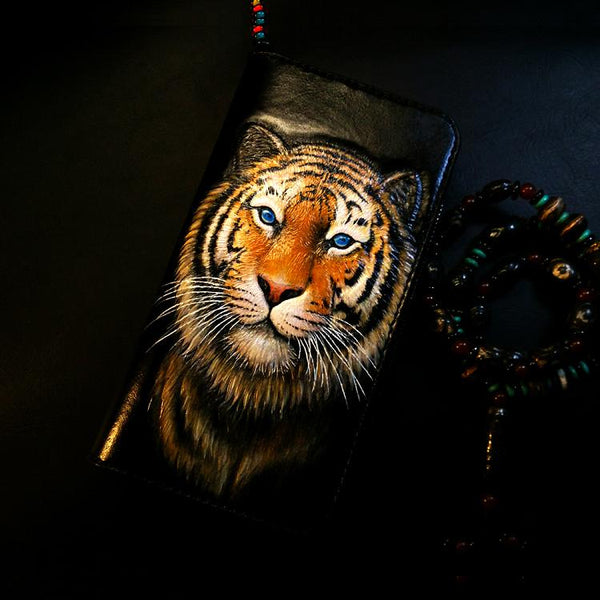 Handmade Leather Tiger Zipper Mens Long Wallet Clutch Cool Leather Wallet Long Tooled Wallets for Men