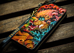 Handmade Leather Tooled Chinese Lion Black Mens Chain Biker Wallet Cool Leather Wallet Long Clutch Wallets for Men