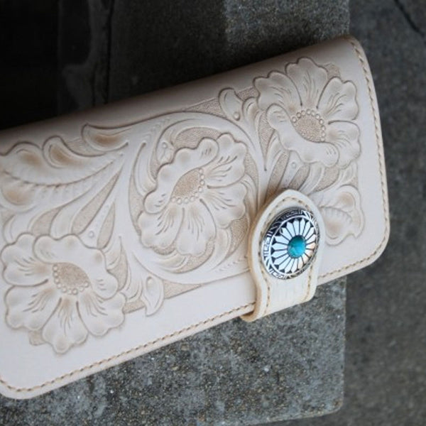 Handmade Mens Tooled Floral Leather Long Chain Wallet Cool Biker Wallet with Chain