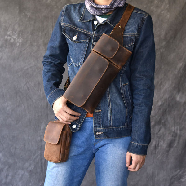 Handmade Vintage Leather Fanny Pack Mens Waist Bag Hip Pack Belt Bag for Men