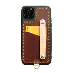 Handmade Green Leather iPhone 11 Pro Max Case with Card Holder CONTRAST COLOR iPhone 11 Leather Case
