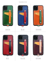 Handmade Black Leather iPhone 11 Pro Case with Card Holder CONTRAST COLOR iPhone 11 Leather Case