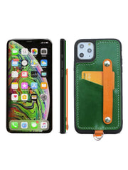 Handmade Leather iPhone 11 Case with Card Holder CONTRAST COLOR iPhone 11 Leather Case