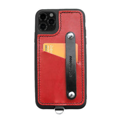 Handmade Black Leather iPhone 11 Case with Card Holder CONTRAST COLOR iPhone 11 Leather Case