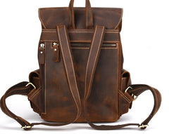 Vintage Leather Brown Mens Backpack School Backpack Travel Backpack Bags for Men