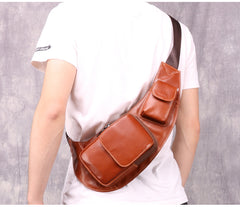 Oiled Leather Brown Men's Chest Bag Sling Bag One Shoulder Backpack For Men
