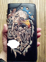 Handmade Leather Mens Clutch Wallet Cool Eagle Tooled Chain Wallet Biker Wallets for Men