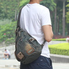 Denim Mens Large Sling Bag Blue Chest Bag Jean One Shoulder Backpacks For Men