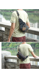 Cool Denim Blue Mens Small Fanny Pack Waist Bag Blue Chest Bag Hip Bag Bum Bags For Men