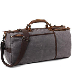 Khaki Waxed Canvas Mens Weekender Bag Travel Handbag Casual Canvas Duffle Bag for Men