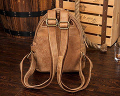 Khaki Fashion Mens Leather Small Travel Backpacks Cute College Backpacks School Backpack for men