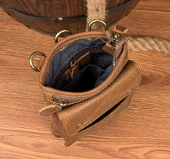 Cool Khaki Leather Mens Casual Waist Bag Belt Pouch Mini Messenger Bags Side Bag for Men