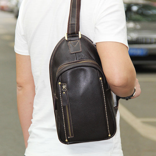 LEATHER MENS COOL SLING BAG Black Coffee CROSSBODY BAG CHEST BAG FOR MEN