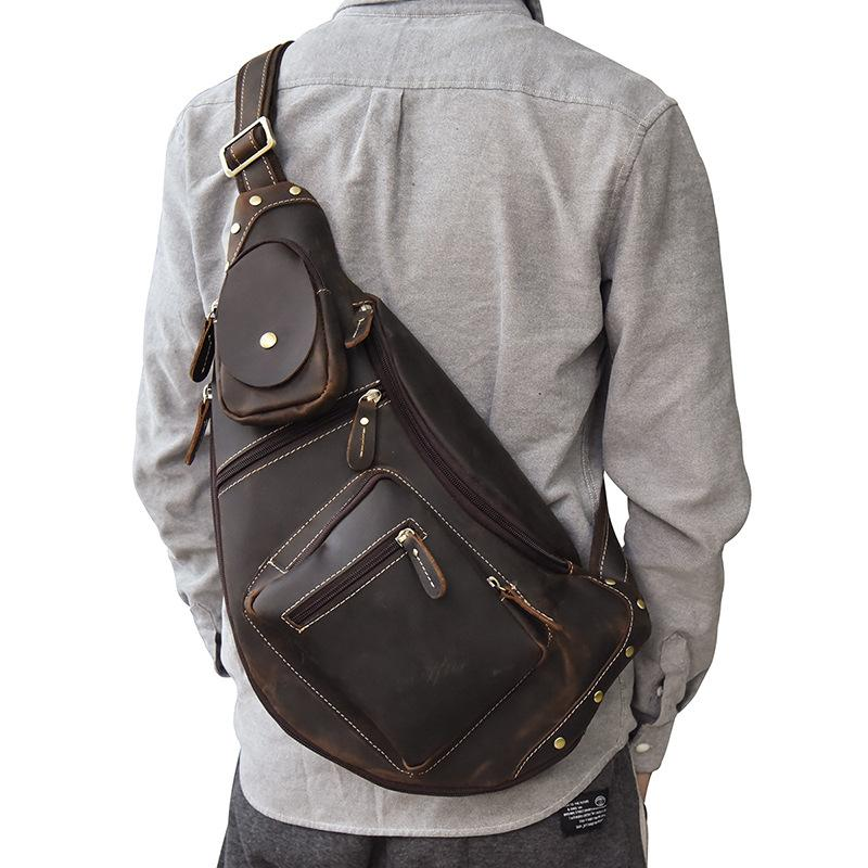 COOL LEATHER MENS SLING BAG SLING Shoulder BAG Chest Bags FOR MEN