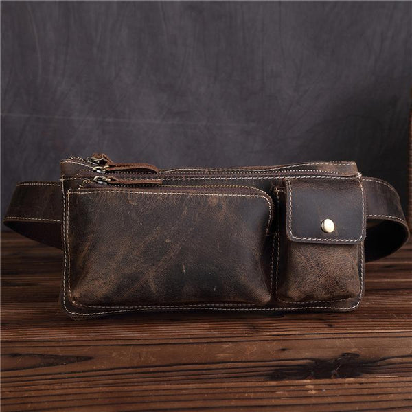 LEATHER MENS FANNY PACK FOR MEN BUMBAG Vintage WAIST BAG